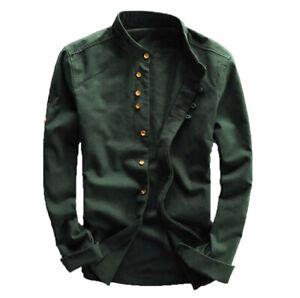 Mens Grandad Casual Shirts Mandarin Smart Shirt Long Sleeve Top RH07