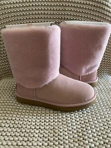 UGG CLASSIC SHORT II SHERPA CUFF PINK CRYSTAL WATER RESISTANT WOMENS SIZE 7 9 10