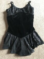 Tania Bass Ice skating competition dress Black Sequin Velvet Girls Size S 6x-7