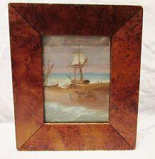 MARINE MINIATURE 19ème siècle Huile peinture ancien bateaux ANTIQUE OIL PAINTING