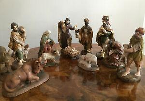 12 Krippenfiguren Heilige Familie drei Könige Hirten Tiere 16cm Holz geschnitzt