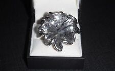 Ring Flower Cocktail style Big Statement Ring Silver Color US-9 / EU-19.66 NEW