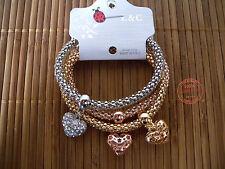 Bracciale Donna TRIPLO Cuore Charms Cuori Strass Elastico color Oro Rosa Argent.