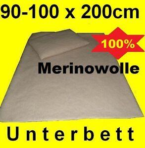 Matratzenschoner Unterbett Matratzenauflage Lammwolle Merinowolle  90cm 100cm