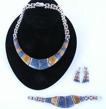 Tiger Eye, sterling, Denim Lapis bracelet, earrings, necklace set Mexico, Taxco