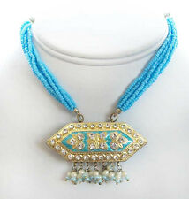 Beautifully Exotic, Turquoise Lakh Necklace & Earrings. Handcrafted in India