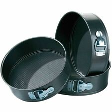 Non Stick Pack of 3 Springform Round Cake Baking Wedding Party Tins New