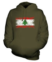 LEBANON DISTRESSED FLAG UNISEX HOODIE TOP LUBNAN FOOTBALL LEBANESE GIFT