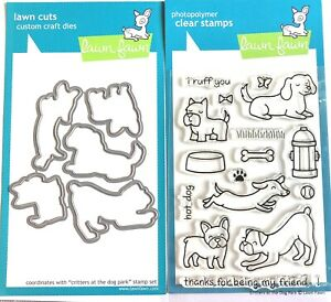 Lawn Fawn Critters At A Dog Park Clear Photopolymer Stamps Set AND Matching Dies