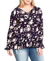JESSICA SIMPSON New 1X Blue Boho Floral Double Tie-Neck Peasant Blouse Top NWT