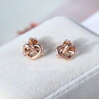 Kate Spade Crystal Accented Love Knot Stud Earrings - Rose Gold Tone