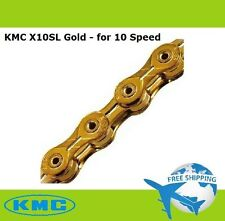 KMC X10SL Bike Chain 10S (Gold) 116Link+Missing Link for MTB/Road - SRAM Shimano