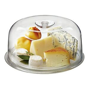 Bormioli Rocco Single Ginevra 29cm Diameter Glass Plate with Plastic Dome Cake