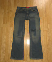 Superb Blue RIVER ISLAND Zip Studs Faded Bootcut Jeans Size 12/38 L31.5