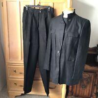 Louis FERAUD 2 piece black linen pant suit Size 10