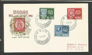 Norway #340-342 Oslo Norwex FDC 4-6-1955 Cachet>Clyde Sarzin Addressed to USA