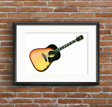 George Harrison's 1962 Gibson j-160e guitare Affiche Imprimé A1 taille