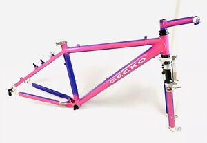 Gecko Aluminum Mountain Bike Frame Manitou Forks & Matching Stem USA Made