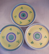 3 Caleca Carousel Salad Luncheon Plates Hand Painted In Italy Pottery