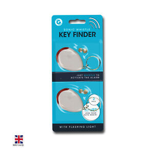 2pk Sonic Whistle Lost Key Finder Flashing Beeping Locator Remote LED 4 Battery