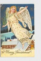 ANTIQUE POSTCARD CHRISTMAS ANGEL WITH PINE BOUGH OVER SNOW COVERED ROOFTOPS