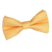 Marigold Mens Pre-Tied Bow Tie Woven Greek Key Pattern FREE Pocket Square by DQT