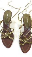 NINE WEST WOMENS OLIVE & BROWN BRAIDED LEATHER STRAPPY LACE UP SANDALS SIZE 9 M