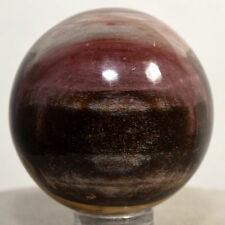41mm Natural Red Petrified Wood Sphere Fossil Agate Crystal Mineral - Madagascar