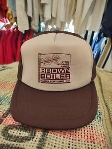 Vintage VTG 90s Brown Boiler Steel Storage Foam Meshback Workwear Trucker Hat