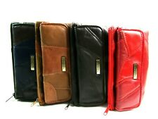Ladies Womens Premium Super Soft Real Leather Patchwork Purse Card Holder Wallet