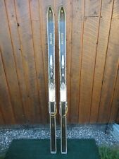 "Beautiful Vintage Wooden 64"" Long Skis Original Black Finish with Bindings"