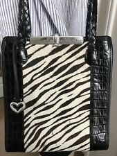 BRIGHTON Vintage ZEBRA COWHIDE LEATHER SHOULDER BAG TOTE Silver Hardware