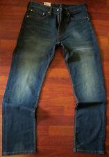 Levi's 505 Straight Leg Jeans Men Size 31 X 30 Vintage Distressed Dark Wash NEW