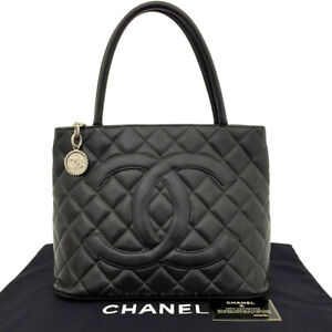 CHANEL Classic Silver Medallion CC Logo Quilted Black Caviar Skin Tote Bag/71229