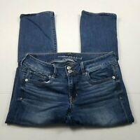 American Eagle Artist Crop Jeans Womens Size 10 Super Stretch Distressed Denim