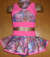 PINK/SNAKE/NEON/CROP TOP/PANT/SKIRT ROCK AND ROLL 5/6 YEAR OLD OUTFIT/DANCE