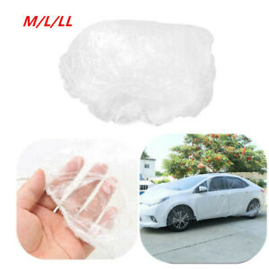 M/L Clear Universal Full Car Cover w/Elastic Band Rain Case Waterproof Protecter