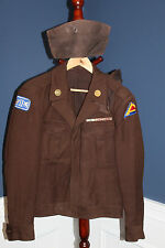"""Scarce Late WW2 U.S. Army """"Brown"""" Double Patched Ike Jacket w/Two Overseas Hats"""