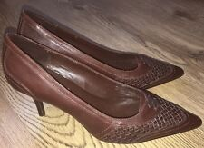 LADIES M&S AUTOGRAPH all LEATHER Stiletto Heel COURT SHOES  Size UK 4.5  Brown