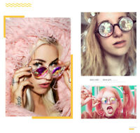 Round Kaleidoscope Glasses Holographic Sunglasses Rave Festival Cosplay Glasses