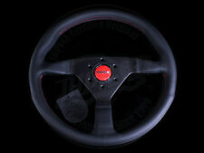 MOMO STEERING WHEEL MONTE CARLO 350MM BLACK LEATHER RED STITCHING CIVIC INTEGRA