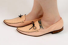designer vtg Fatte a mano pink crocodile leather loafers Lavorazione artigiana
