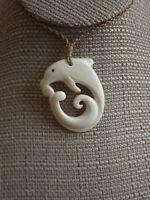 Hawaiian Buffalo Bone Dolphin Pendant Necklace Choker Hand Carved Dolphin & Wave