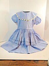 Vtg=Child'S Dress=Corn-Flower Blue W/ Detailed Coller=Pleated=Homemade-N o Label