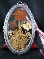 "Vintage Metal & Glass Wild Flower Wall Hanger- Sun Catcher ~3.5"" X 5.5"""