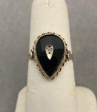 Vintage 14K Yellow Gold Black Onyx Diamond Pear Shape Ring N/R