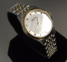 Ladies Genuine Bulova Slim Diamond Gallery 98S148 Gold Mop Designer Watch Date