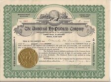 THE UNIVERSAL BY=PRODUCTS COMPANY (WASHINGTON STATE)...1920 STOCK CERTIFICATE