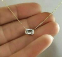 14k Yellow Gold Over 2Ct Emerald-Cut Diamond Solitaire Pendant Necklace