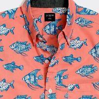 J Crew Mens Slim Fit Short Sleeve Hawaiian Shirt Neon Azure L M XXL MSRP: 54.50
